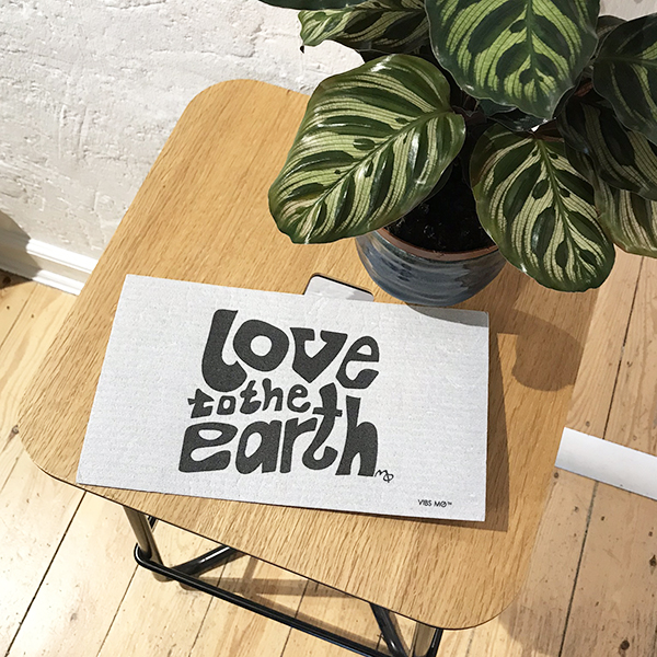Dish cloth. Compostable and plasticfree. Love to the Earth. Together with wooden stool and nice plant.