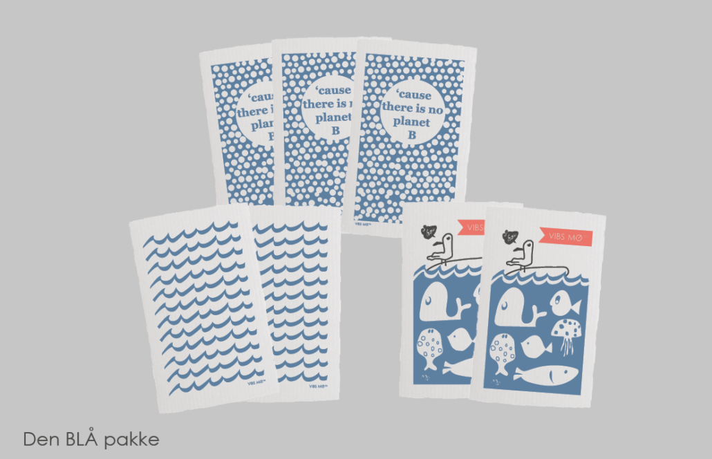 Pakke med hvide karklude med blå motiver