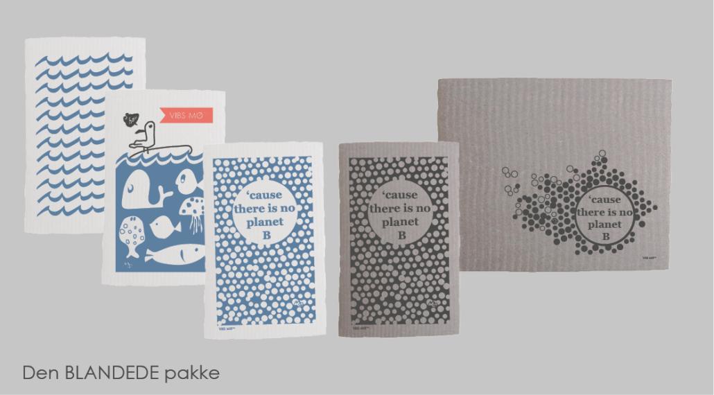 Pakke med grå og blå mønstrede karklude fri for mikroplastik